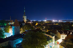 Night Tallinn panorama Stock Photo