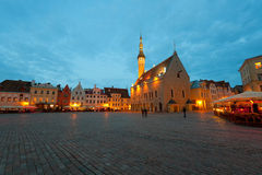 Night Tallinn Town Hall Square Stock Image