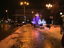 Night Tambov. A stroll through the Tambov. Russian Federation, December 18, 2016 Stock Photography