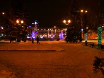 Night Tambov. A stroll through the Tambov. Russian Federation, December 18, 2016 Stock Photo