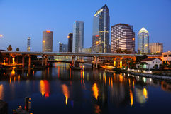 Night Tampa Skyline Stock Photo