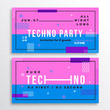 Night Techno Party Club Invitation Card or Flyer Template. Modern Abstract Flat Swiss Style Background with Decorative Royalty Free Stock Photos