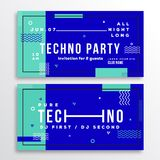 Night Techno Party Club Invitation Card or Flyer Template. Modern Abstract Flat Swiss Style Background  Stock Images