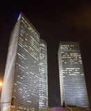 Night Tel Aviv. Azrieli towers in Tel Aviv at night stock photography