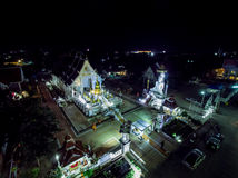 Night Temple in Thailand. Aerial View Royalty Free Stock Images