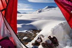 Night in mountains. Night in the tent in 3000 meters high royalty free stock images