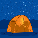 Night Tent Silhouette People Stock Photography