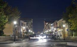Night 20th September 1870 Street in Rimini, Italy. Stock Photography