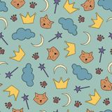 Night theme seamless background with cats and crowns. Vector illustration of seamless background with cats and crowns Royalty Free Stock Photos