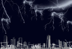 Night thunderbolts and lightening Royalty Free Stock Photos