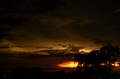 Night thunderstorm over the horizon Stock Photo