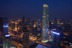 The night of Tianjin city,China. Tianjin is the economic center of northern China.Tianjin is one of Chinas most livable city.Haihe River through downtown.The stock photography