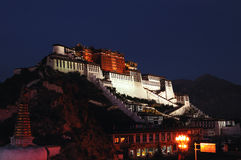 Night of Tibet Potala Palace Stock Photo