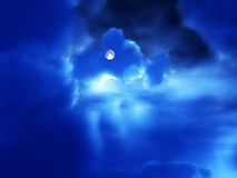 Night Time 56. An image of the moon in the cloudy background night time sky Royalty Free Stock Photography