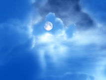 Night Time 57. An image of the moon in the cloudy background night time sky Royalty Free Stock Photos