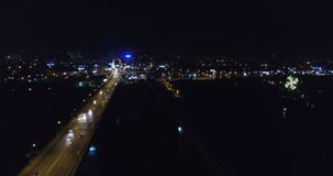 Night-time aerial shot of the City of Novosibirsk stock footage