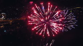Night-time aerial shot of the Fireworks stock video footage