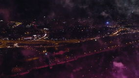 Night-time aerial shot of the Fireworks stock footage