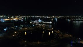 Night time Aerial View Battleship New Jersey stock video footage
