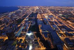 Night time aerial view of Chicago. Illinois Royalty Free Stock Image