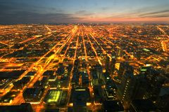 Night time aerial view of Chicago royalty free stock photography