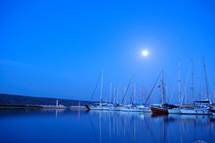 Night time in Alacati Marina Stock Image