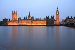Night time along the River Thames Stock Photography