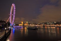 Night time along the River Thames Royalty Free Stock Image