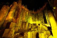 Night time at amazing stone of columnar,Phrae Stock Image