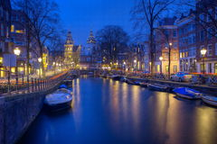 Night time in Amsterdam Royalty Free Stock Images