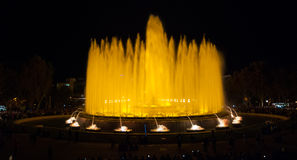 Night time in Barcelona, Spain at the magic fountain. Royalty Free Stock Photos