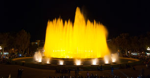 Night time in Barcelona, Spain at the magic fountain. Royalty Free Stock Image