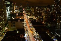 Robson street at night in Vancouver Royalty Free Stock Photo