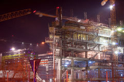 Night time at the building site Royalty Free Stock Image