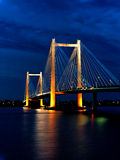 Night time cable brisge image. Stock Images