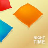 Night time. Cartoon concept with pillows and blanket. EPS 10 Royalty Free Stock Photography