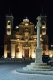 Night time Church. Gharb parish church in Gozo Malta at night Stock Photo