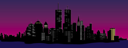 Night time city. Vector illustration of a night time city skyline Royalty Free Stock Image