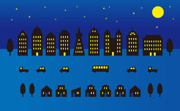 Night time city illustration Royalty Free Stock Image