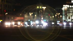 Night time in the city. Out of focus with blurry. unfocused city lights. traffic bokeh. city noise.