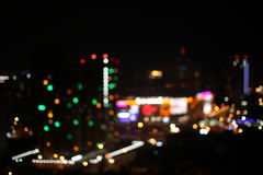 Night time in the city. Out of focus with blurry. unfocused  lights. Royalty Free Stock Image