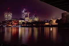 Night Time City-scape View from the South Shore of the River Thames London. Taken from under Tower Bridge 05/11/2018 stock photography