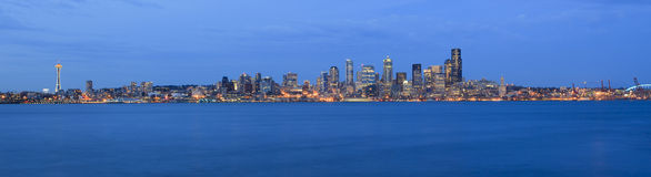 Night time for city of Seattle Stock Images