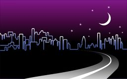 Night-time City Skyline. Night-time road to the big city skyline, crescent moon and stars Stock Photos