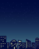 Night time cityscape abstract building illustration with stars at sky background vector Royalty Free Stock Photography
