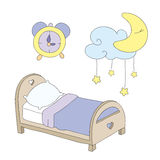 Night time clip art set Royalty Free Stock Images
