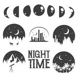 Night time concept labels and emblems in monochrome vintage style. Royalty Free Stock Photo