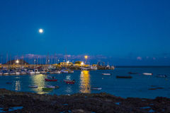 Night time Corralejo harbor harbour Stock Photography