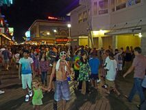 Night Time Crowd at the Boardwalk Stock Images