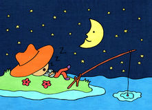 Night time fishing Stock Photos